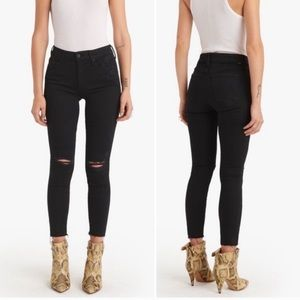 MOTHER The Looker Ankle Fray Black Jeans, 25